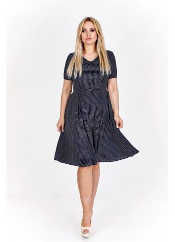 Sukienka koktajlowa w drobne groszki vintage Plus Size