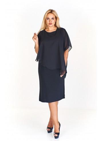 Połyskująca sukienka wieczorowa z asymetryczną woalką Plus Size