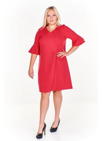 Pudełkowa sukienka z rozkloszowanymi rękawami Plus Size