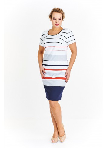 Sportowa sukienka w paski Plus Size