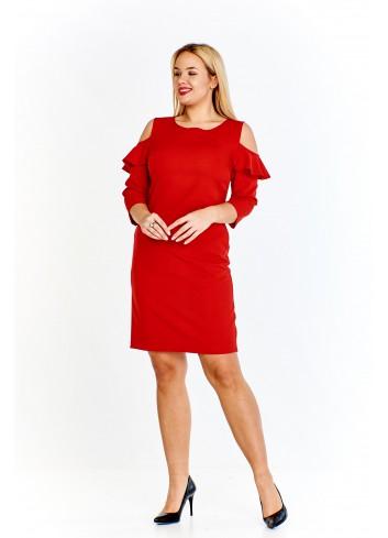 Ołówkowa sukienka z rękawem 3/4 i falbanami na rękawach Plus Size