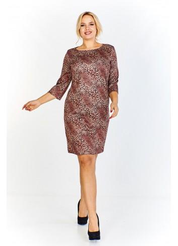 Sukienka w zwierzęcy wzór z rękawem o długości 3/4 Plus Size