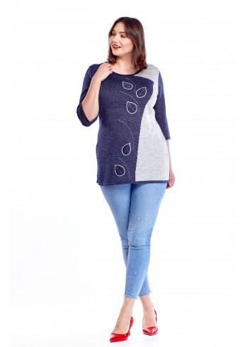 Sweter z łączonych kolorów z wyszywanym wzorem Plus Size