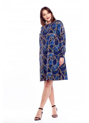 Wzorzysta sukienka z pękniętymi rękawami Plus Size