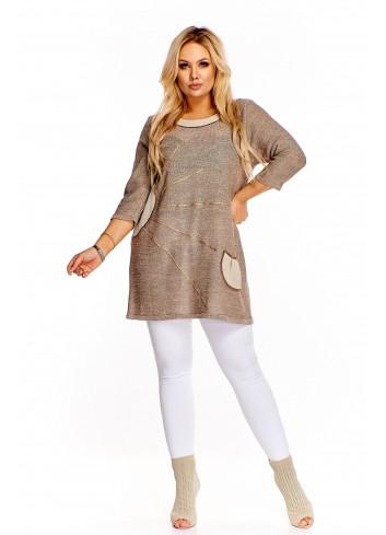 Dłuższy sweter z wyszywanym wzorem