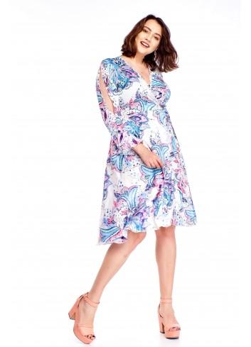 Kopertowa sukienka z rozcięciami na rękawach Plus Size