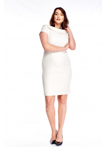 Ołówkowa sukienka w wytłaczany wzór z kołnierzykiem Plus Size