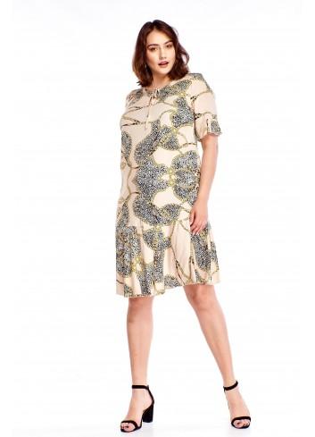 Wzorzysta sukienka z falbanką Plus Size