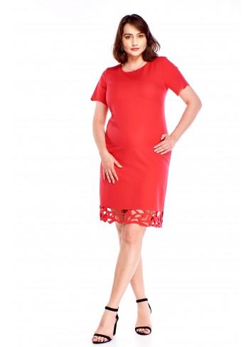Pudełkowa sukienka z wycinanym wzorem Plus Size