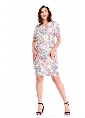 Sukienka w a'la wyblakły wzór Plus Size