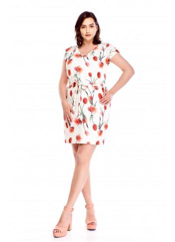 Ołówkowa sukienka w kwiaty z wiązaniem w pasie Plus Size