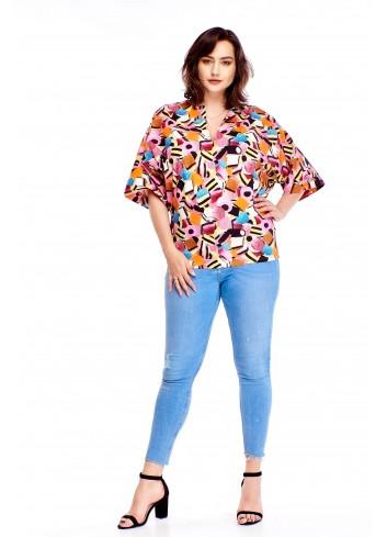 Bluzka kimono w słodycze Plus Size