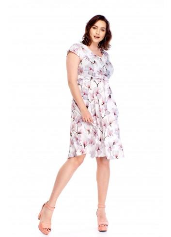 Sukienka w kwiaty z wiązaniem w pasie Plus Size