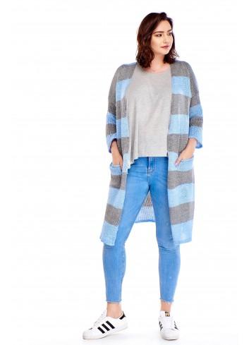 Długi sweter w pasy Plus Size