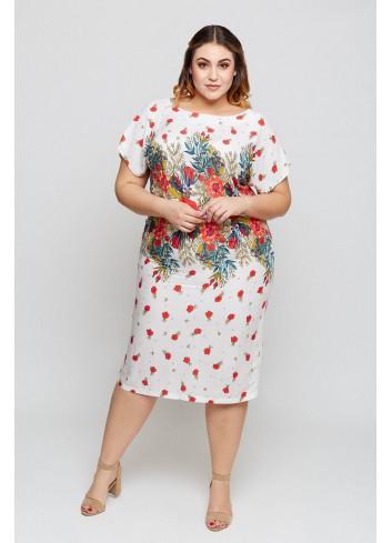 Sukienka w oryginalny kwiatowy wzór Plus Size