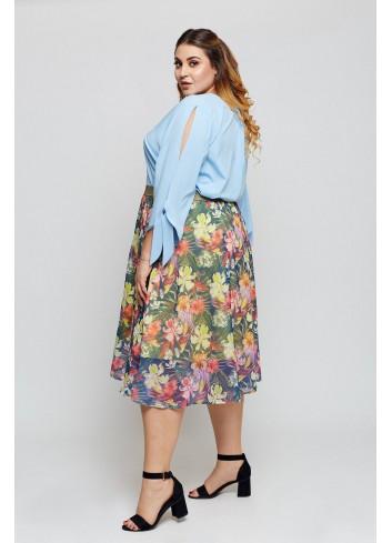 Wzorzysta spódnica z ozdobną gumą Plus Size