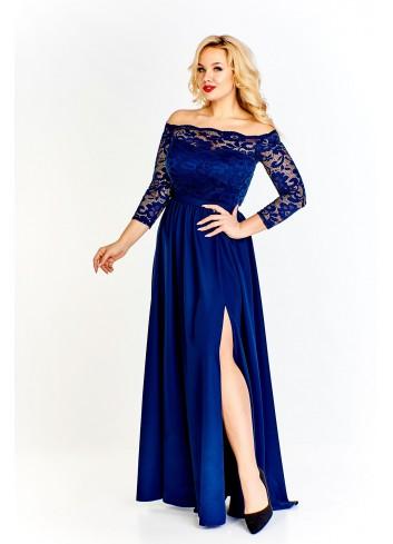 Sukienka maxi z koronkową górą odsłaniającą ramiona i luźno puszczonym dołem z rozporkiem Plus Size