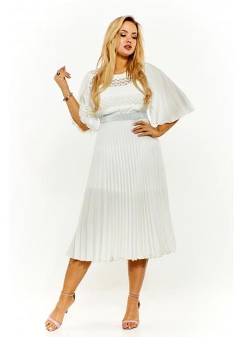 Plisowana sukienka z koronkową górą Plus Size