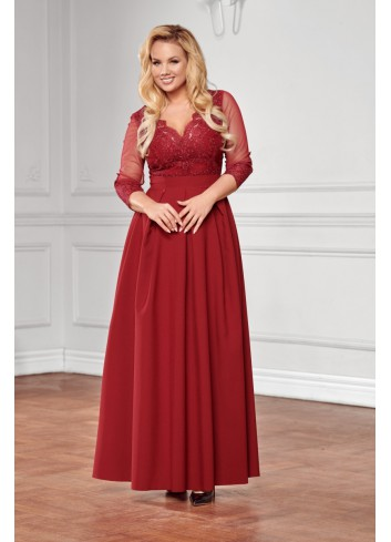 Suknia wieczorowa z koronkowym zdobieniem i rękawem 3/4 Plus Size