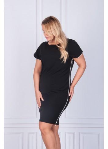 Sukienka mała czarna z zamkami po bokach Plus Size