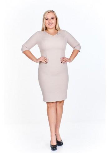 Ołówkowa sukienka z rękawem 3/4 do pracy Plus Size