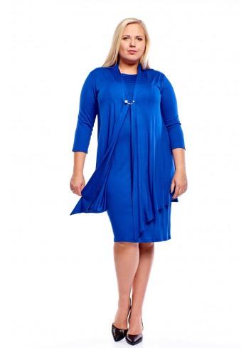 Ołówkowa sukienka ze zwiewną narzutką Plus Size