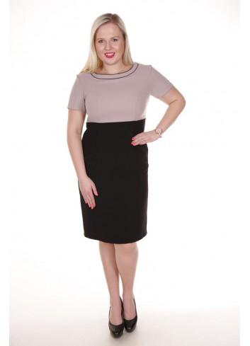 Prosta dwukolorowa sukienka do pracy Plus Size