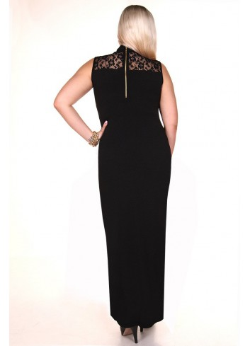 Sukienka maxi z koronkowym dekoltem Plus Size