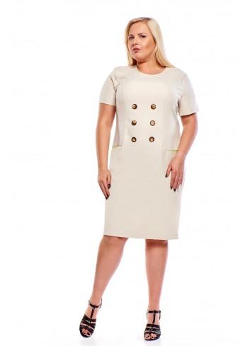 Elegancka lniana sukienka z ozdobnymi guzikami do pracy Plus Size