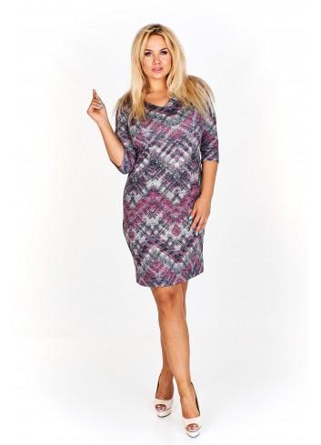 Wzorzysta sukienka z subtelnym dekoltem w serek Plus Size