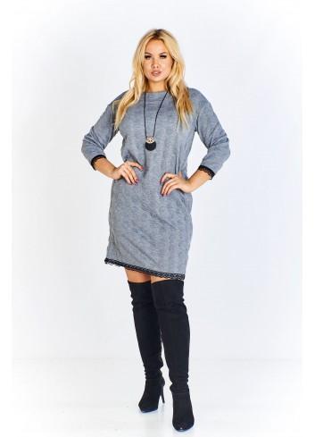Sukienka z wyciskanym wzorem i z koronką Plus Size