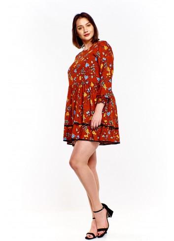 Wzorzysta sukienka z rozkloszowanym dołem Plus Size