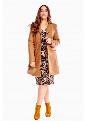 Klasyczny jesienno-zimowy płaszcz zapinany na guziki Plus Size