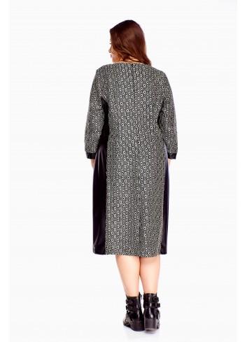 Sukienka do pracy z długiem rękawem Plus Size
