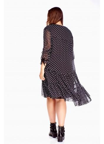 Modna czarna sukienka oversize PLUS SIZE