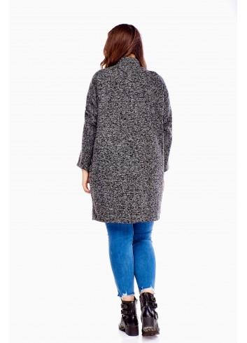 Luźny trapezowy płaszcz zapinany na napy Plus Size