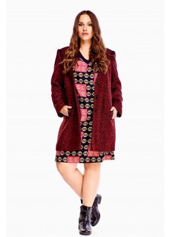 Ciepły płaszcz wełniany bordowy Plus size