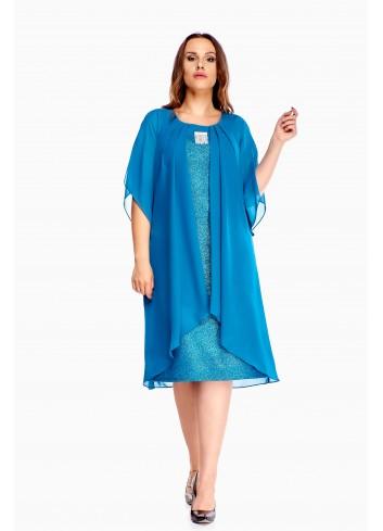 Sukienka z narzutką trapezowa Plus size