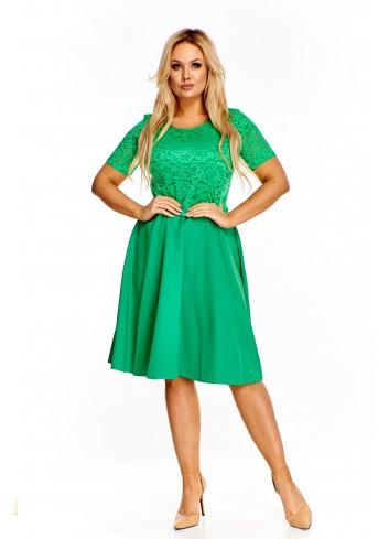 Koktajlowa sukienka z koronkową górą Plus Size