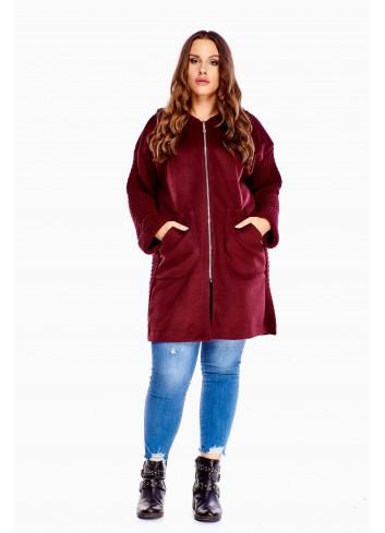 Oryginalny luźny płaszcz z łączonych materiałów Plus Size