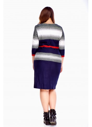 Sukienka midi z rękawem 3/4 do pracy Plus Size