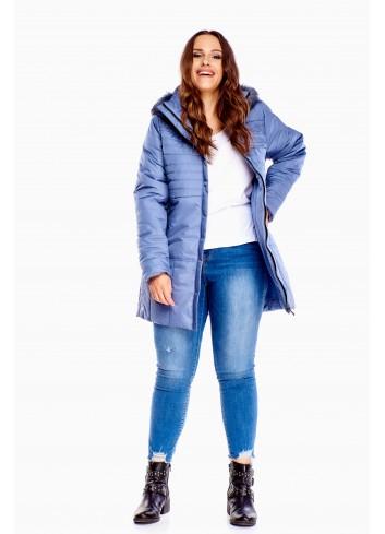 Długa zimowa kurtka z kapturem Plus Size