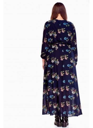 Zwiewna sukienka maxi z długimi rękawami Plus Size