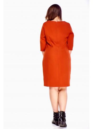 Pudełkowa sukienka midi zapinana na zamek z rękawem 3/4 Plus Size