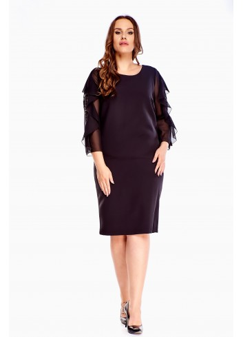 Elegancja Sukienka ołówkowa czarna na wesele PLUS SIZE