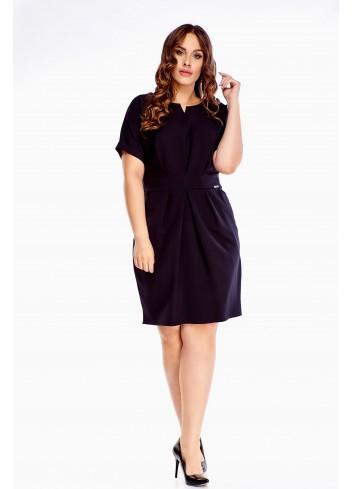 Sukienka mała czarna z krótkim rękawem uniwersalna PLUS SIZE