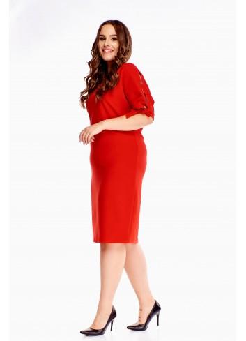 Sukienka czerwona ołówkowa dla puszystej