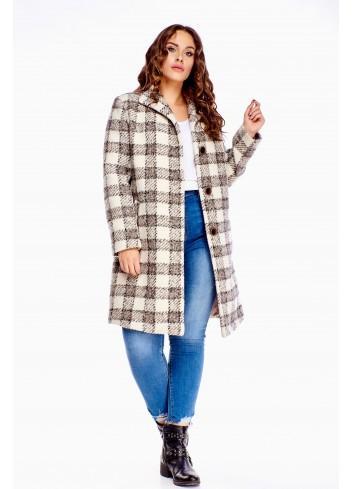 Wiosenny płaszcz wiosenny w kratę Plus Size