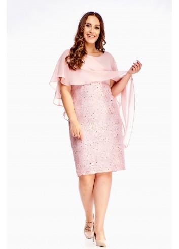 Sukienka z tiulową narzutką na wesele komunię dla puszystej
