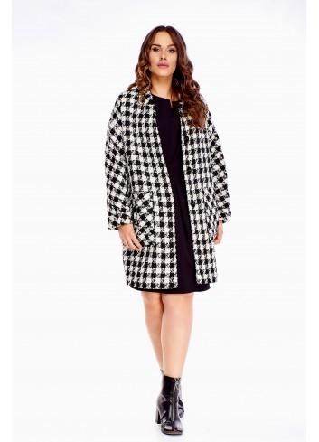 Klasyczny płaszcz na guziki z domieszką wełny modny wzór XL